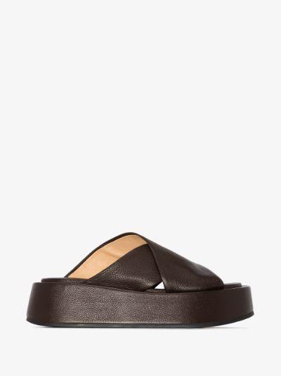 dark brown 50 flatform leather sandals
