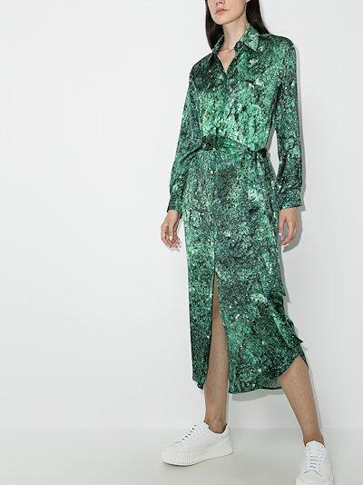 galaxy print midi shirt dress