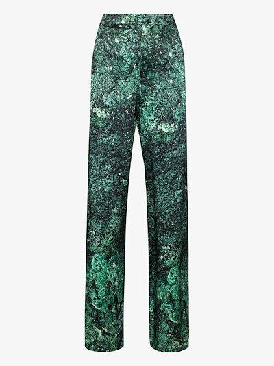 galaxy printed silk trousers
