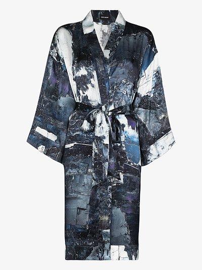 Rossellini printed silk kimono robe