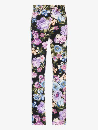 Floral Print Straight Leg Jeans