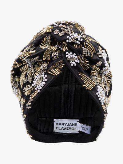black Venetian beaded turban