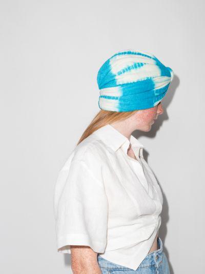 blue Bardot gingham print turban