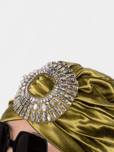 Green Playera Crystal embellished Turban
