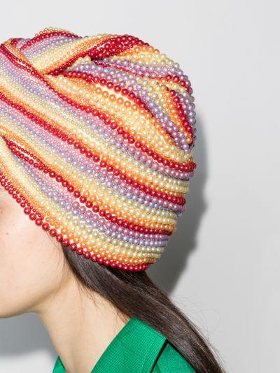 multicoloured frankie pearl embellished turban