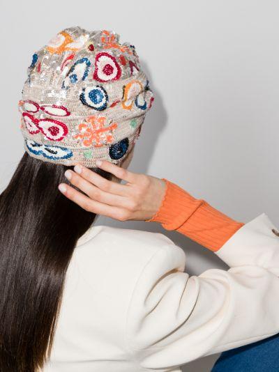multicoloured Hawaii sequinned turban
