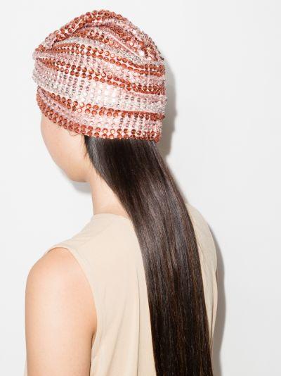 white, pink and orange Malibu sequin turban