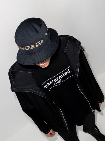 black embroidered logo bucket hat