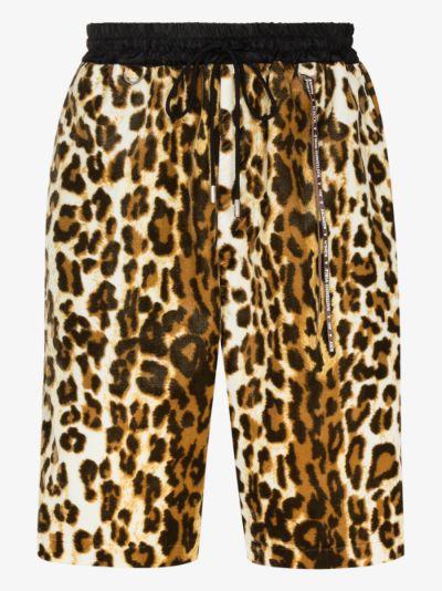 Mastermind World Leopard Print Velour Shorts