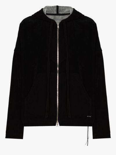 skull print zip-up cotton hoodie