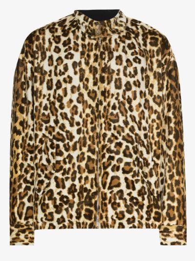 Stand collar leopard print jacket