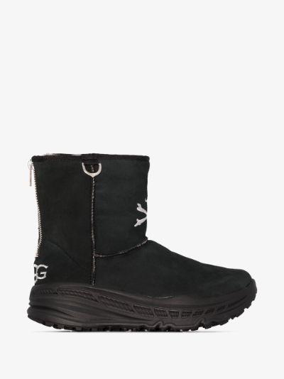 UGG X Mastermind black suede logo boots