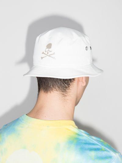white logo embroidered bucket hat