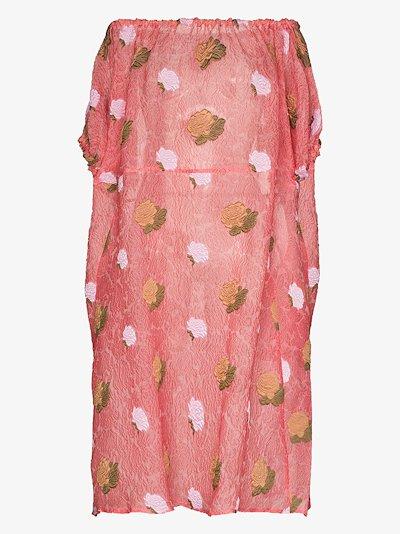 off-the-shoulder floral midi dress