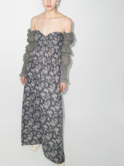 printed off-the-shoulder shirred dress