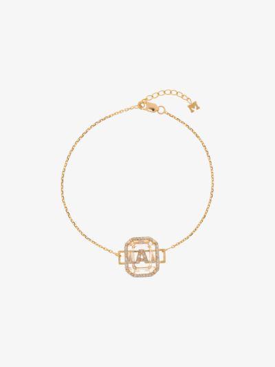 14K yellow gold A initial diamond bracelet