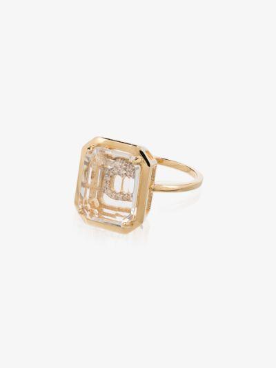 14K yellow gold C initial diamond ring