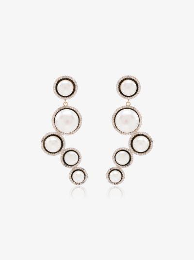 14K yellow gold Cascade pearl diamond earrings