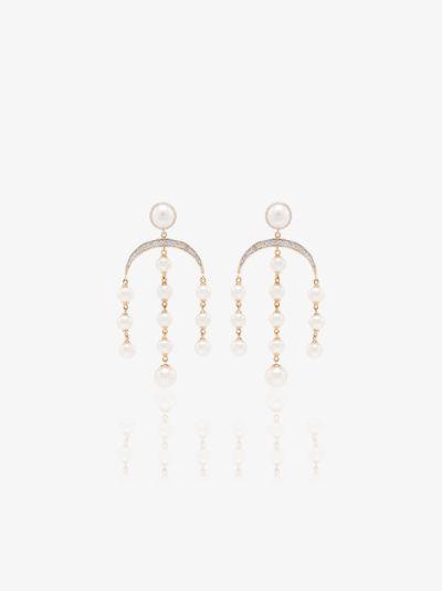 14K yellow gold crescent moon pearl diamond earrings