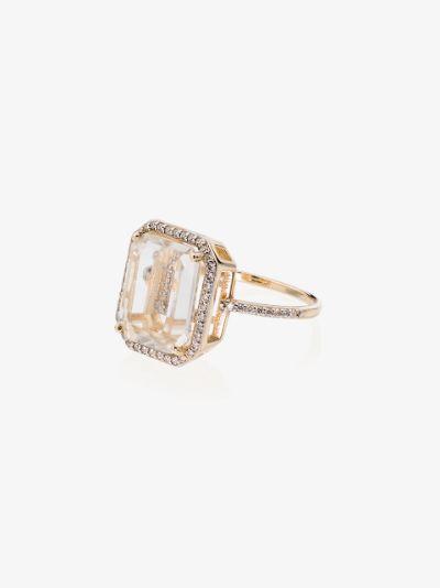 14K yellow gold crystal frame L initial diamond ring