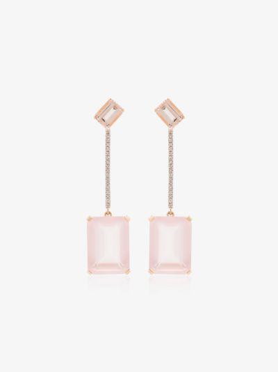 14K yellow gold diamond quartz earrings