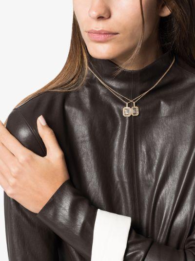 14K yellow gold E initial diamond necklace