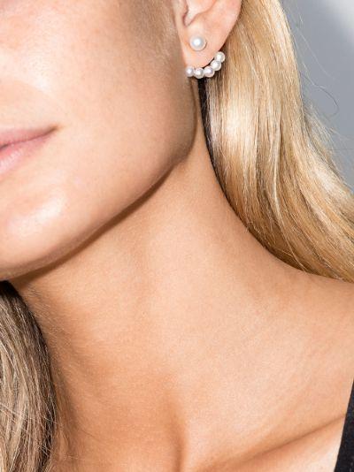 14K yellow gold floating pearl earrings