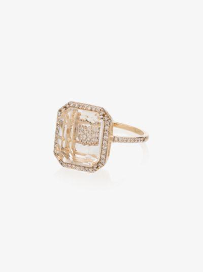 14K yellow gold heart diamond ring