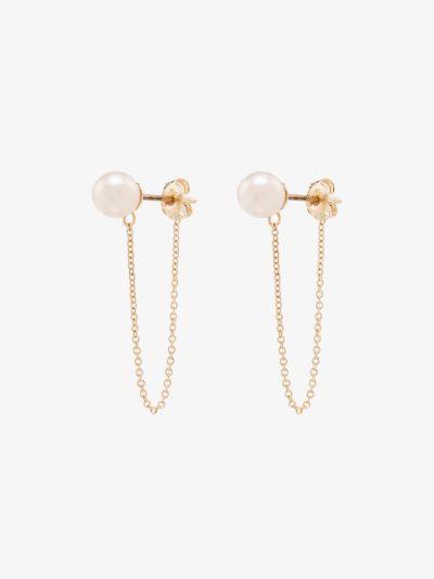 14K yellow gold pearl stud chain earrings