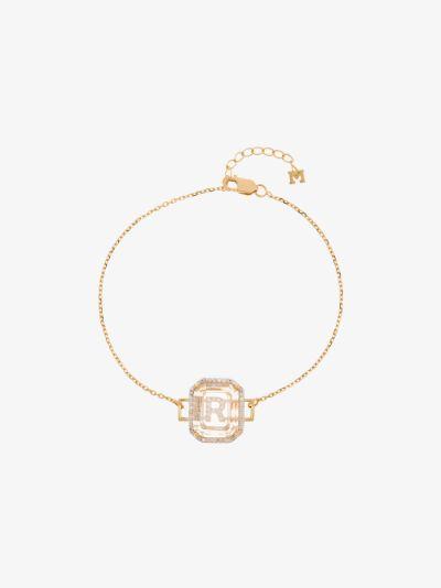 14K yellow gold R initial diamond bracelet
