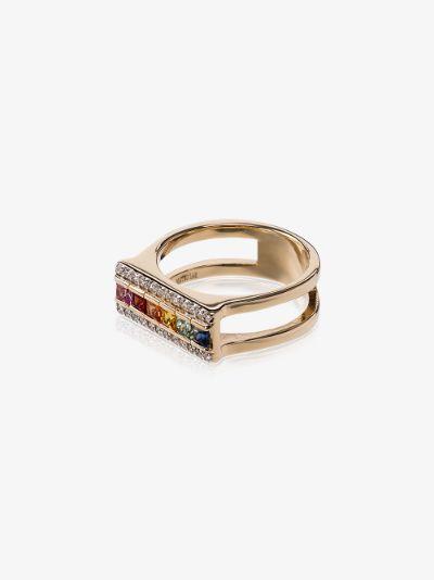 14K Yellow Gold Rainbow Sapphire Bar Ring