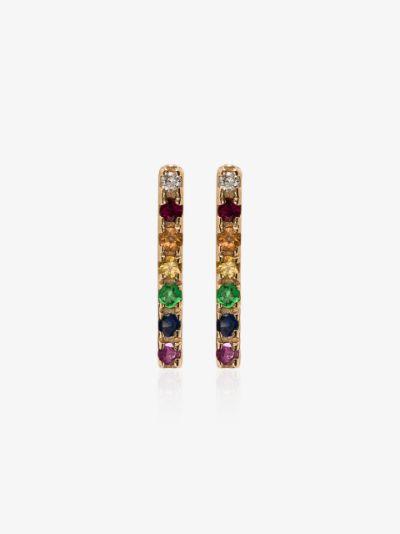 14K yellow gold rainbow sapphire earrings