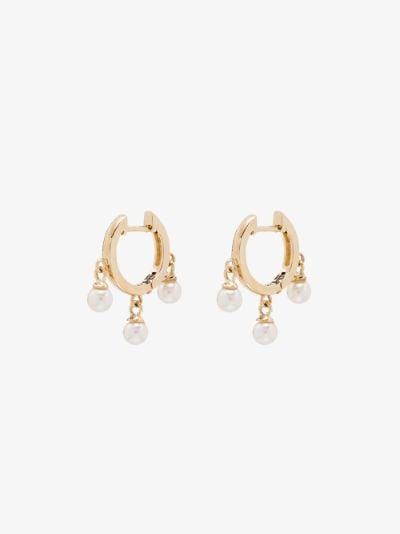 14K yellow gold trio pearl huggie earrings