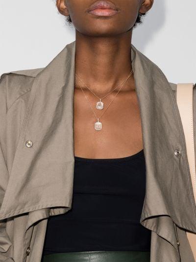 14K yellow gold U initial diamond necklace