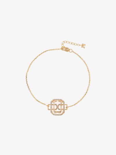 14K yellow gold X initial diamond bracelet