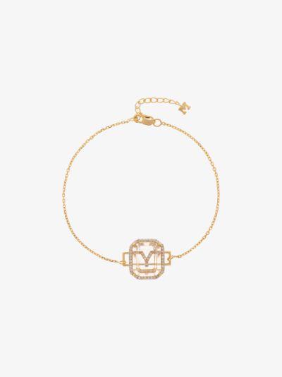 14K yellow gold Y initial diamond bracelet