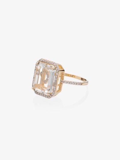 18K yellow gold framed M initial diamond ring
