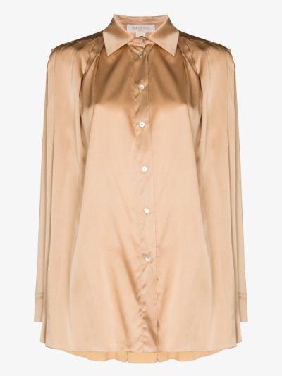button-down pleated silk shirt