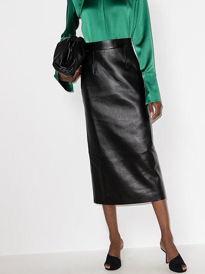 cutout waist faux leather midi skirt