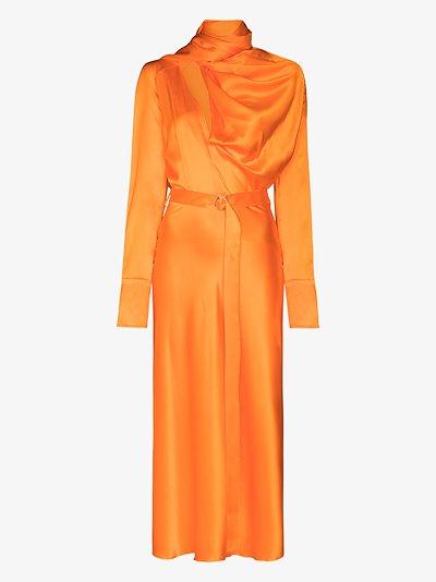 draped silk midi dress