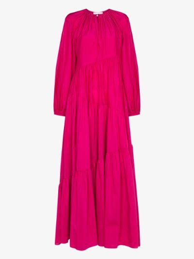 asymmetric tiered maxi dress