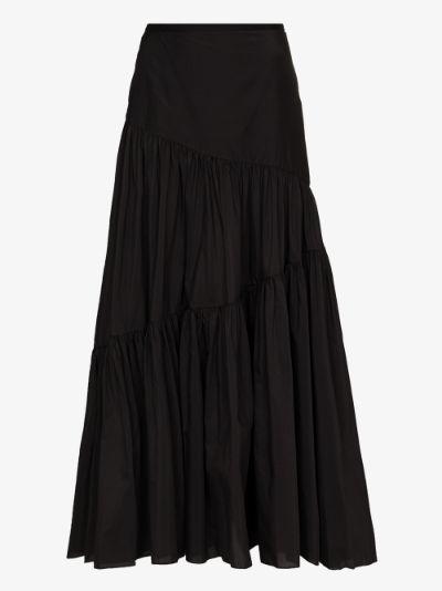 asymmetric tiered maxi skirt