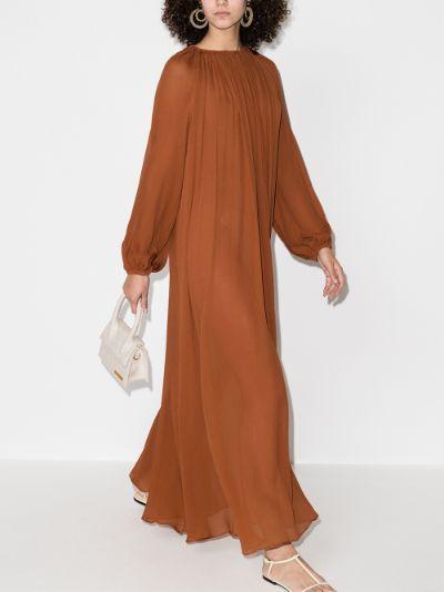 The Blouson silk maxi dress