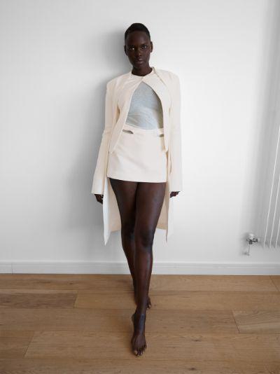 Mass pleated wool mini skirt
