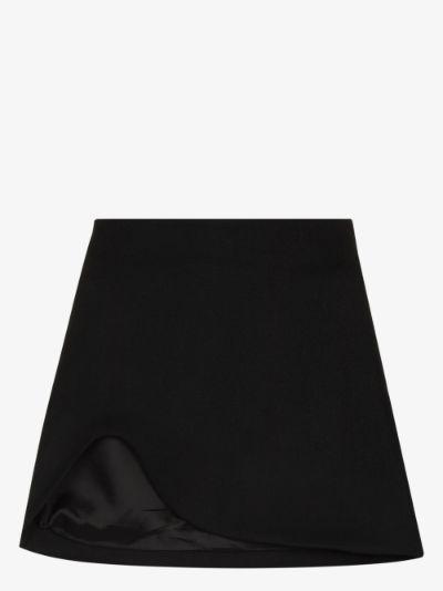 X Browns Focus asymmetric wool mini skirt