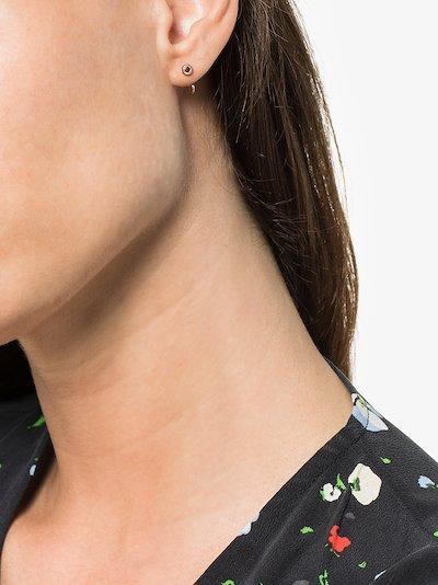 14K gold black diamond huggie earrings
