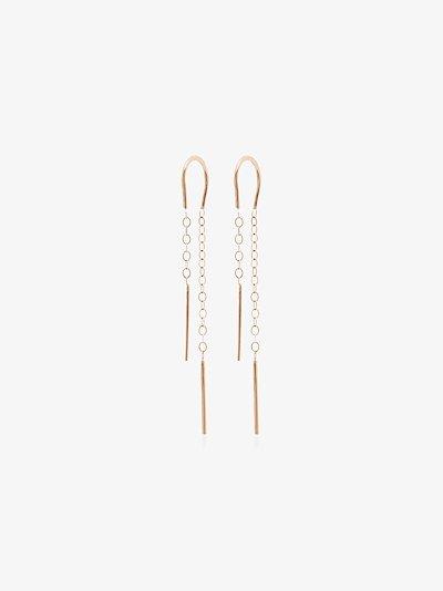 14K yellow gold Horseshoe Chain drop earrings