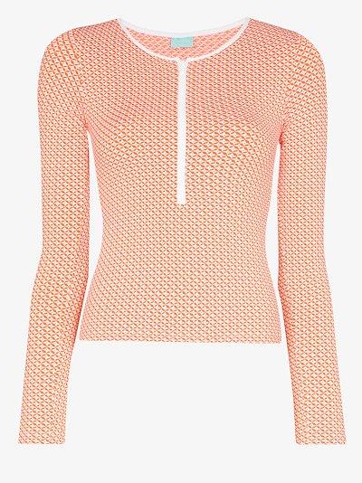 Cali zip mosaic bikini top