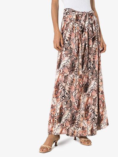 elsa snake print maxi skirt
