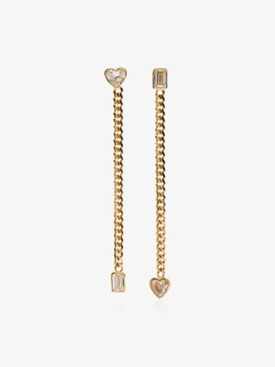 18K yellow gold fancy cut chain earrings